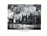 1909 Stampa ~ Destruction Di The Old Casa Di Parlamento ~ London IN 19th Secolo
