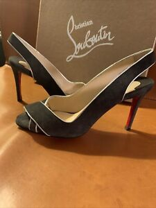 Christian Louboutin Black Suede Silver Trim-size 39.5-NICE Used Red Bottom