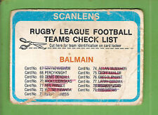 1979  BALMAIN  TIGERS    RUGBY LEAGUE  CHECKLIST CARD, CHECKED, DAMAGED