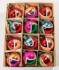 12 VINTAGE MERCURY GLASS CHRISTMAS TREE ORNAMENTS 1960's MICA HANDPAINTED CB20