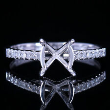 Solid 10k White Gold 7-8mm Round Cut Semi Mount Setting Dimaonds Engagement Ring