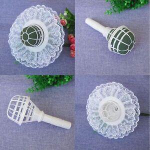 1 Pcs Floral Foam Flower Handle Bridal Wedding Bouquet Holder Decoration White