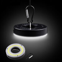 Round COB LED Bulb with Clip Hook Camping Hanging Tent Lamp White Light