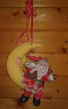 Wanddeko Weihnachtsmann Nikolaus auf Mond Keramik Handarbeit guter Zustand