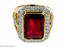 Men's Clergy Apostle Ring (MRG2026 G-R) Red, Sterling Silver w/Gold Plating