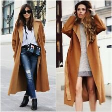 ZARA Camel & Caramel Handmade Long Wrap  Wool Coat & Belt M 12 14 BNWT  7522 254