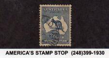 1913 Australia SC 4 Used VF - 2 1/2p Dark Blue Kangaroo & Map*