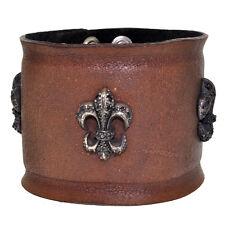 Royalty Collection Fleur de Lis CZ Brown Leather Bracelet RYLB-071