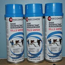 (3 Pack) 10 Seconds Shoe Disinfectant and Deodorizer Kills MRSA 5 oz.
