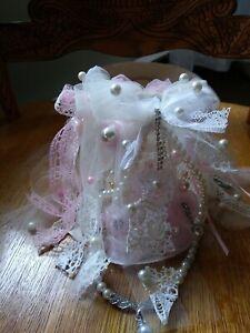 shabby pink chic lampshade beautiful handmade small shade