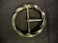 RUSTIC VINTAGE CIRCLE TWISTED HANDMADE CAST IRON BELT BUCKLE BLACK METAL COSTUME