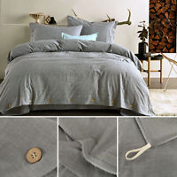 100% Washed Cotton Duvet Quilt Cover With Pillowcase Bedding Set Queen Size FT