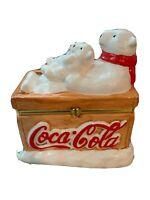 Coco Cola Polar Bear Ice Chest Hinged Lid Ceramic Trinket Box Houston Harvest
