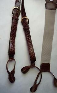 BROWN CROC LEATHER SUSPENDERS BRACES