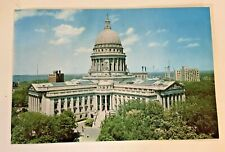 Vintage Giant Postcard State Capitol Building Madison Wisconsin Factory Lake WOW