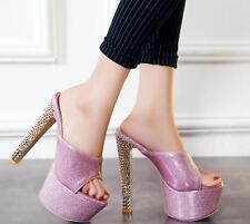 Women Super High Block Heels Mules Slip On Slipper Pumps Platform Shoe Plus Size