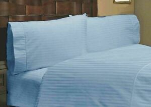 Blue Striped Attached Waterbed Sheet Egyptian Cotton Queen/King/Cal.King