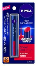 NIVEA Rich Care & Color Lip Sheer Red 2g SPF 20 PA++ Beauty Oil Moisture Japan