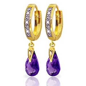 14K Solid Gold Hoop Earrings with Natural Diamonds and Amethyst Drop