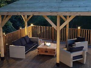 Bespoke Hand Crafted Solid Oak Garden Furniture Sofa Set 5 Seats