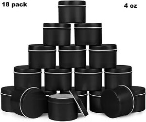 18 Black Candle Making Tins Empty Storage Tea Containers Small Jars Cans Lids