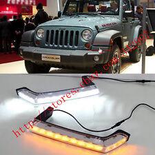 2x LED Daytime Running Lights DRL Lamp w/Turn Signals For Jeep Wrangler Jk 08-16