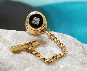 Nice!! 10k Yellow Gold Diamond? Black Enamel Round Tie Tack Pin 2.86g