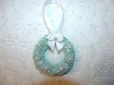 Blue Bottle Brush Sisal Wreath Easter Shabby Chic Glitter Flocked Tree Ornament