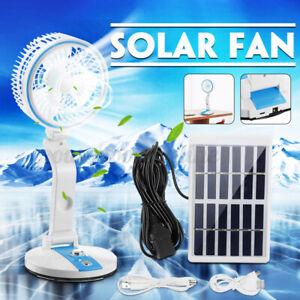 Foldable Solar Panel Powered 1800mAh Fan Cooling USB Fan Cooler Light Desk
