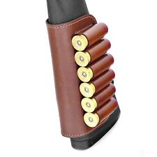 Real Leather Shotgun Shell Cartridge Buttstock Holder Holds 6 Shells 12 & 20 ga