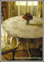 "HERITAGE LACE Round Tablecloth VICTORIAN ROSE White or Ecru 72"" ROUND USA~"