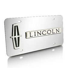 Lincoln Logo and Name on Chrome Steel License Plate