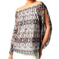 INC International Concepts Off The Shoulder Peasant Top Split Sleeve Gray XL