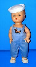 """Vintage 1950s All Hard Plastic Boy Yes No 10"""" Toddler Doll"""