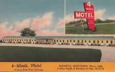 Postcard 4 Winds Motel Baraboo Wi