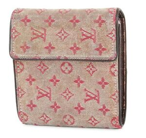 Authentic LOUIS VUITTON Red Mini Lin Trifold Wallet Snap Coin Purse #38797