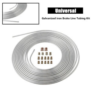 Galvanized Iron Brake Line Tubing 3/16 25 Foot Coil Roll Size Fittings Parts Kit