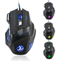 USB Wired Gaming Mouse LED Optical Mice 5500DPI 7 Button For Computer Pro Gamer