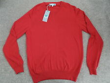 Lyle & Scott Club 2015 V Neck Cotton / Cashmere Pullover Royal Red Medium *New*