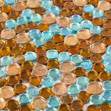 Glasmosaik Fliesen Mosaik Braun Türkis Mix Kreis Form Rund
