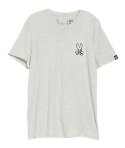 Psycho Bunny Men's Heather Grey Crew-Neck Lounge Short Sleeve T-Shirt