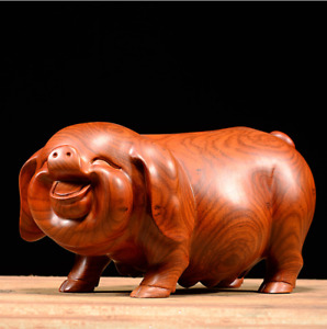 Pig Wooden Statue Hand Carved Folk Animal Art Collectible Home Décor Pet Statue