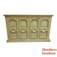 Vintage European Pine Paint Distressed Italian Regency Server Sideboard Cupboard