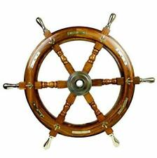 "24"" Wooden Ship Wheel with Brass Handle & Anchor Wall Decorative Nautical Brown"