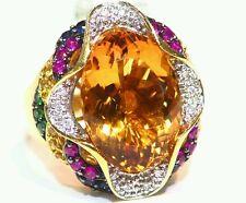 12.78CT 18K Gold Natural Round Cut Diamond Sapphire Vintage Engagement Ring Deco