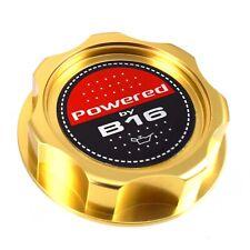 Gold Billet Engine Oil Filler Cap JDM Powered By B16 Emblem For Honda & Acura