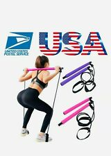 Pilates Bar Kit Resistance 💪Band Exercise Stick Toning Yoga same day shipping