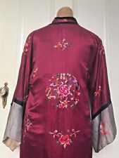 20's Vintage Hand Embroidered Silk Cantonese Jacket Flapper Robe