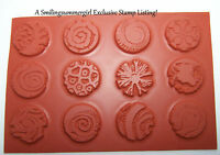 "12pc set Round Unmounted 1"" Texture Rubber Stamps for Polymer, PMC, Paper, Clay"