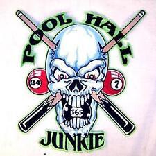 large JUMBO POOL HALL JUNKIE SKULL JACKET BACK PATCH embroidered biker JBP6